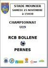 Championnat U19 RCBB - PERNES, A MOUNIER LE 25 NOVEMBRE A 15H30 - RACING CLUB BLONDEL BOLLENE