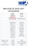 Convocation de Mercredi 26 Avril 2017 - U11 U13 - yvetot ac