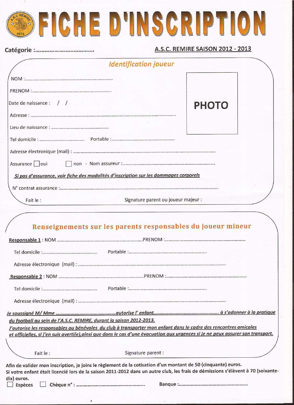 Actualit fiche d 39 inscription 2012 2013 club football for D et co inscription