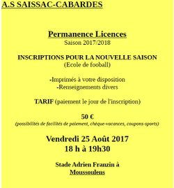 Permanence licences - A.S Saissac-Cabardès