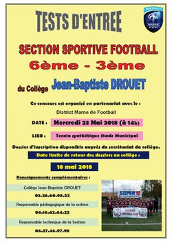 Recrutement section sportive football collége Jean-Baptiste DROUET