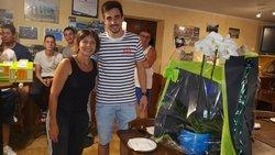 Soirée anniversaire de M Odile .fleurs offert de l ensemble des COACHS joueurs pour son engagement tous les jeudis a mijoter de bon plats merci a elle - A.S.  HAUSGAUEN