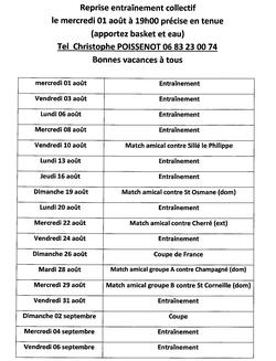 Programme de la reprise collective - Association Sportive de Thorigné sur Dué