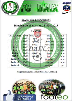 Planning rencontres week-end 24 et 25 Mars
