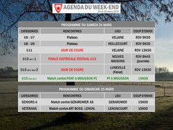 AGENDA DU WEEK-END : 24 ET 25 MARS 2018