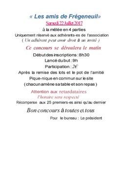 """Concours de boules le Samedi 22 Juillet 2017 organisé par """"Les amis de Frégeneuil"""" -  LEROY SOMER FOOTBALL"""