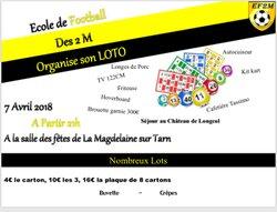 Loto EF2M : samedi 7 avril 2018 à la salle des Fêtes de la Magdelaine dur Tarn