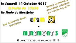 Nos SENIOR rencontrent l'équipe de MIREMONT samedi 14 octobre 2017 à 18 h
