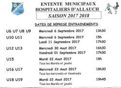 Dates de Reprise Entraînements 2017 2018 - EMH ALLAUCH