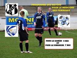 PROGRAMME DES  MATCHS DU WEEK-END SAMEDI 6 MAI ET DIMANCHE 7 MAI  DES FEMININES !!!!!!