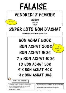 Loto du club le vendredi 2 février 2018 à partir de 19h Forum de Falaise