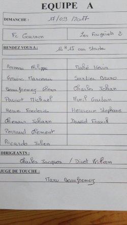 Match contre Les Fougerets à 15h30 dimanche à COURNON - Football Club de Cournon
