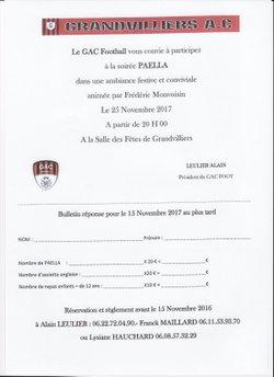 Soirée Paella le 25 Novembre.