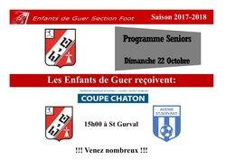 Programme Seniors - Dimanche 22 Octobre