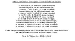 Date de Permanence de Licences 2015 - 2016 - Football Club Loubesien