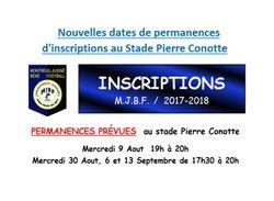 Nouvelles dates de permanences - MONTREUIL-JUIGNÉ BÉNÉ FOOTBALL