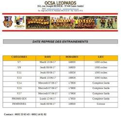 Les dates de reprise des entraînements - OCSA Léopards