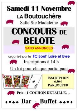 Concours de belote 11 novembre La Boutouchère