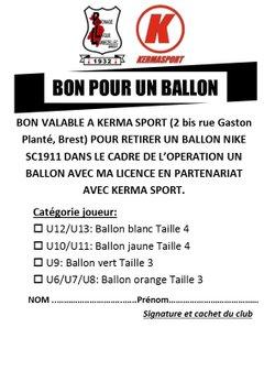 BON POUR UN BALLON VALABLE CHEZ KERMA SPORT