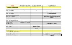 Calendrier des rencontres du week-end 25 et 26 Novembre 2017. - RACING CLUB BLONDEL BOLLENE