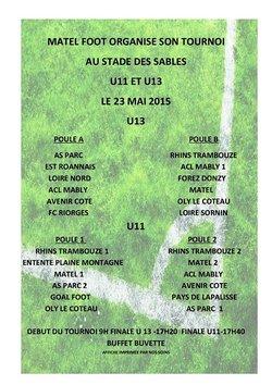 Tournoi de Pentecôte U11 et U13 le samedi 23 mai 2015