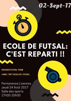 Ecole de Futsal : Reprise le 2 septembre !