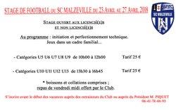 STAGE DE FOOT du SCM - Vacances de Pâques du 23 au 27 Avril 2018 - Sporting Club Malzéville
