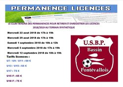 Permanences enregistrement et retrait des licences 2018/2019
