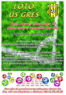 Loto du Dimanche 4 Février 2018 - Union Sportive Grès Orange Sud (club de football)