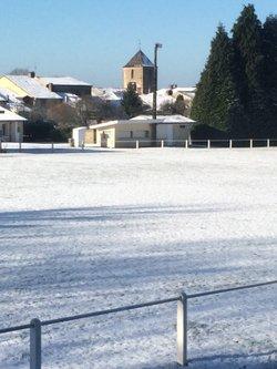 Le stade d'Abzac sous la neige. - Union Sportive d'Abzac