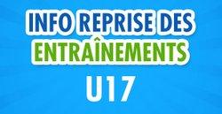 Reprise des entrainements U17