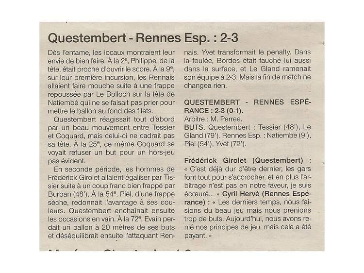 BO Questembert A - DSR poule C 2-3 Espérance Rennes