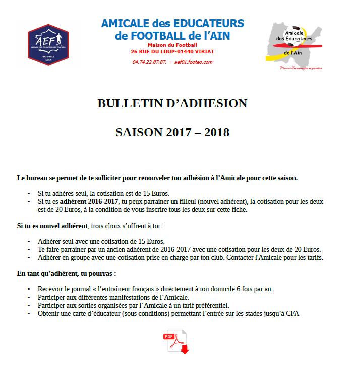 Bulletin d'adhésion 2017-2018