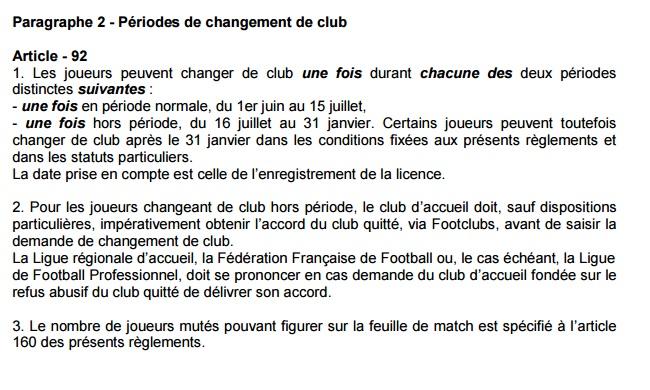 changement de club