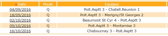 calendrier équipe 3