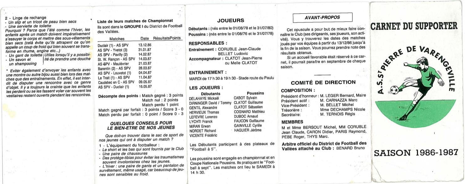 Les carnets du supporter 1986-1987 (recto)