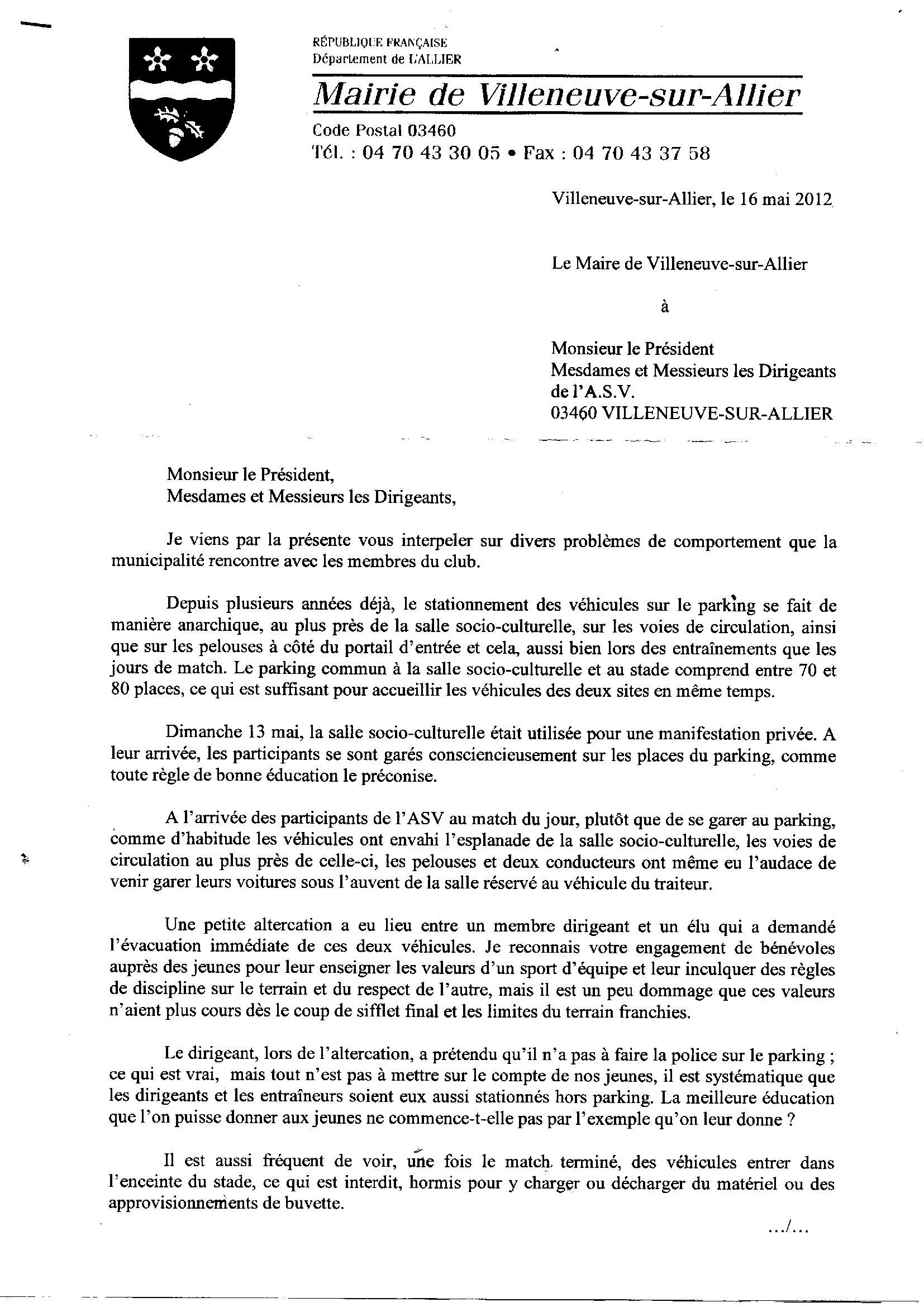 actualit u00e9 - lettre de la mairie  u00e0 l u0026 39 asv