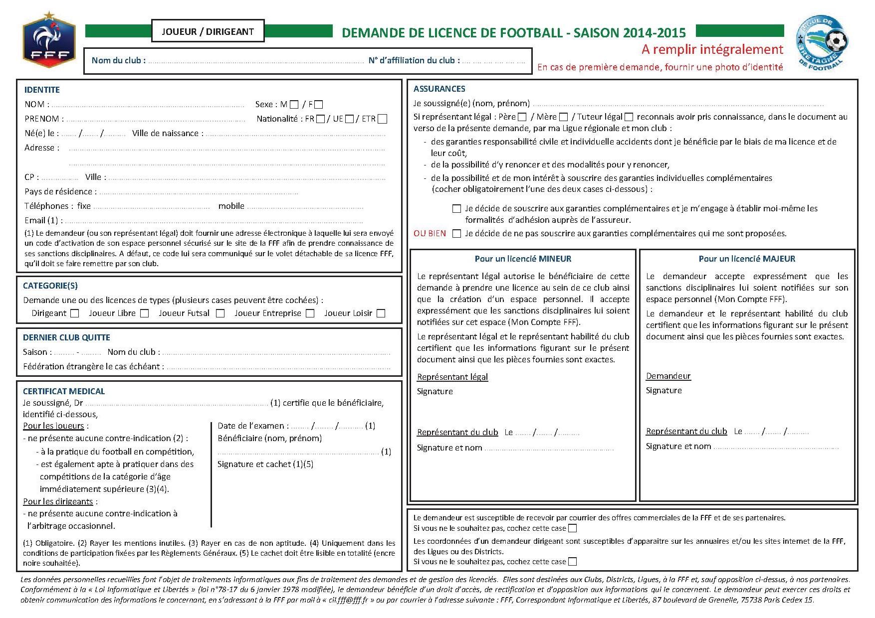 Inscription Club Football Bleuets Le Pertre Brielles