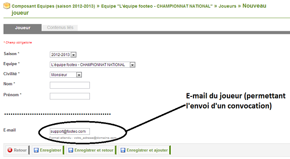 Ajouter l'adresse mail