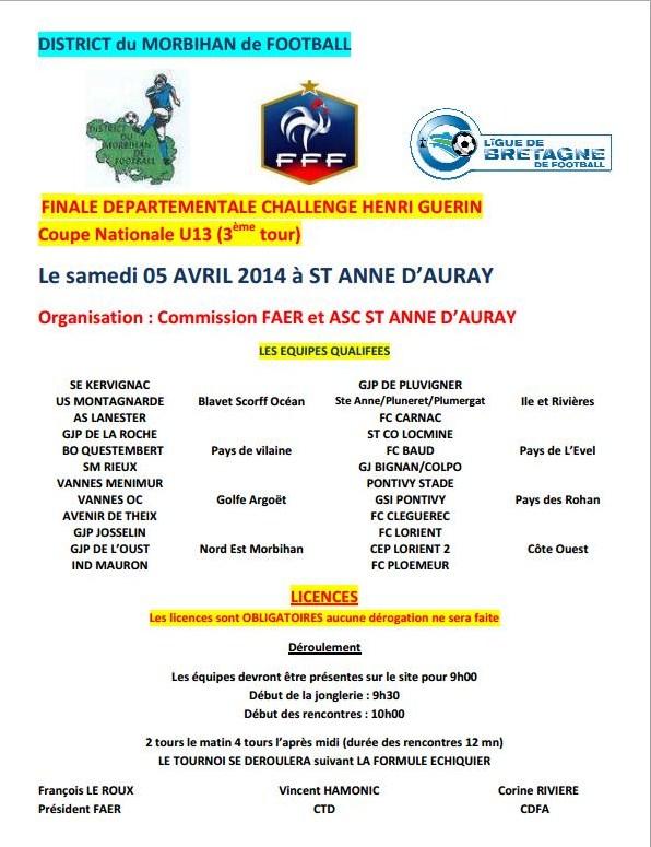 Affiche officielle de la finale départementale (3ème tour) du Challenge Henri Guérin U13 2014