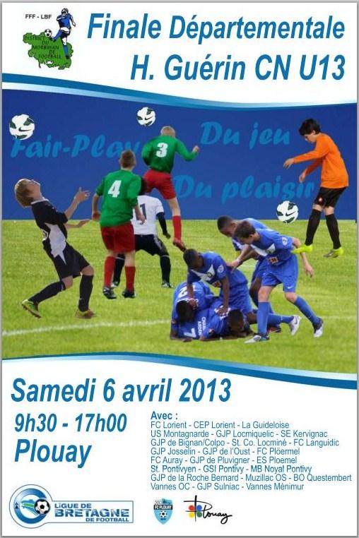 Affiche officielle de la finale départementale H. Guérin CN U13 édition 2012-2013