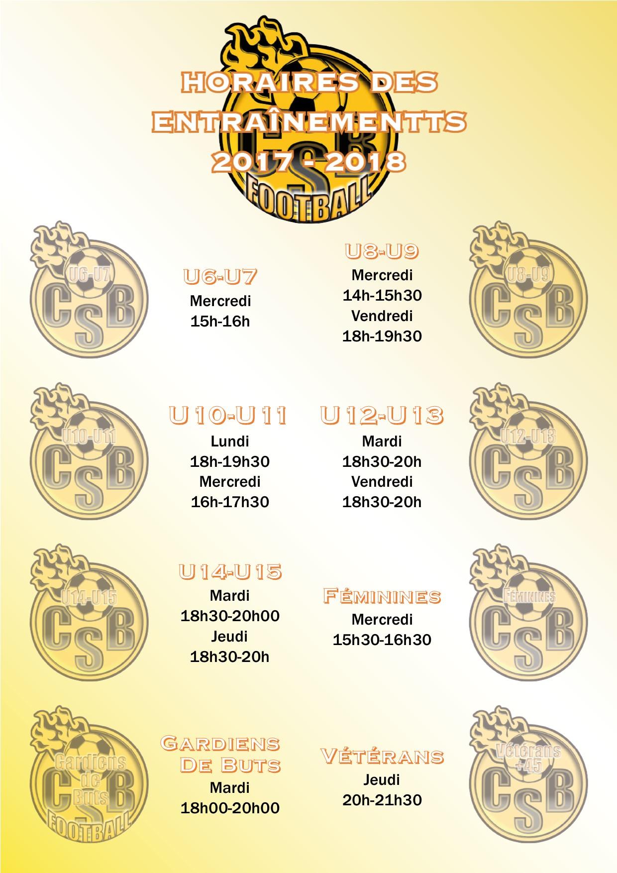 tableau des horaires