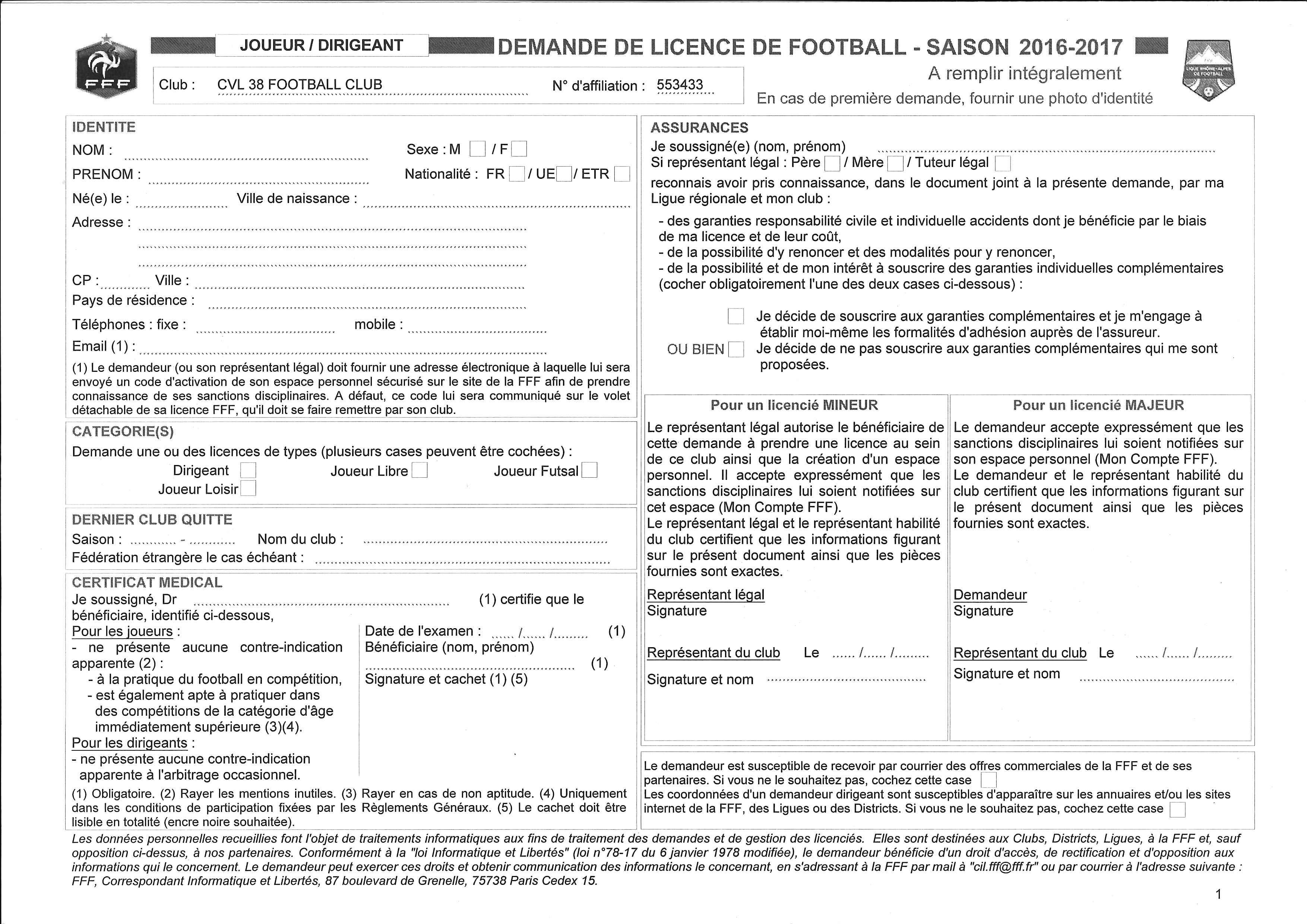 Actualit dossier d 39 inscription licence saison for Bureau de licence