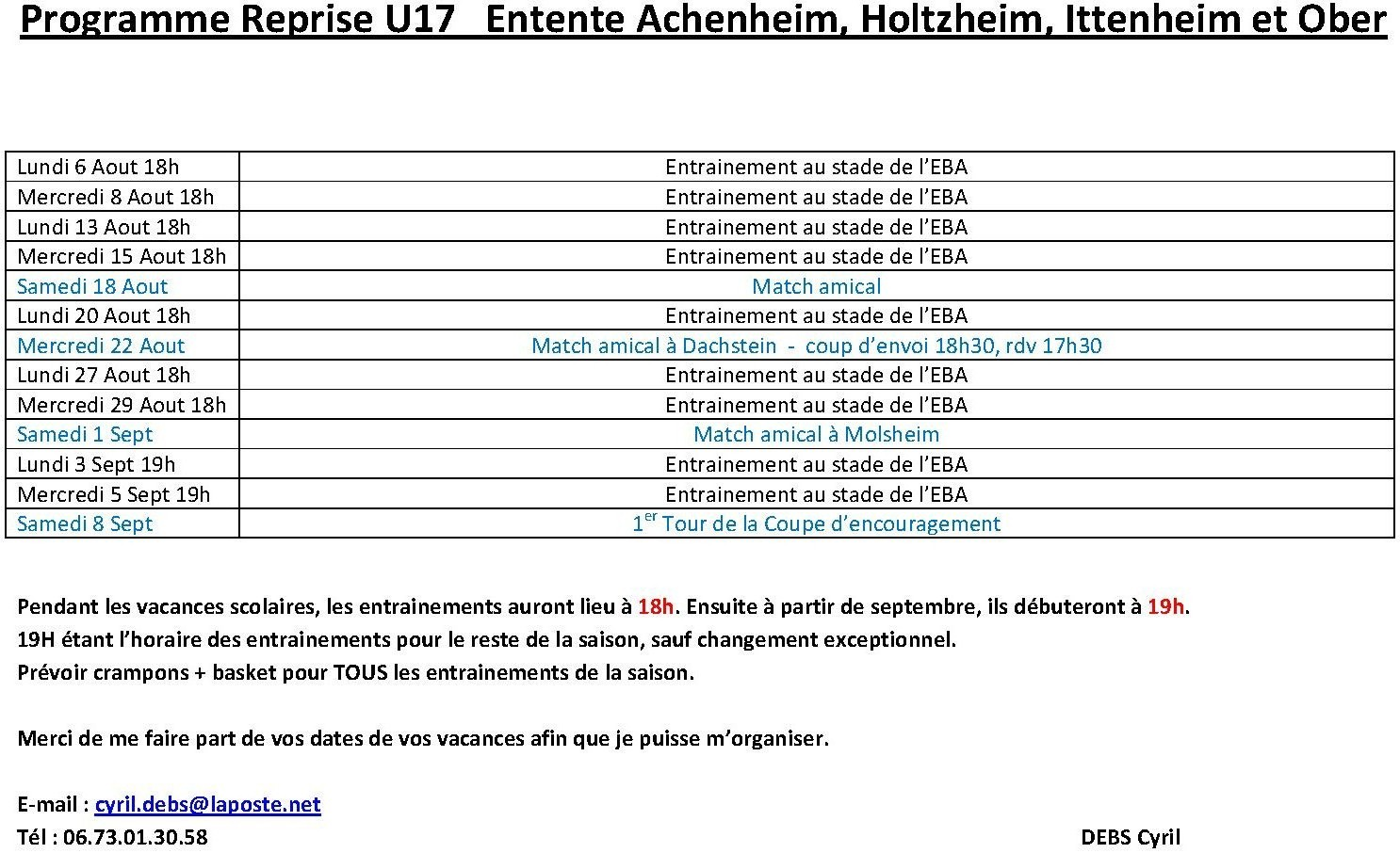 Programme Reprise U17