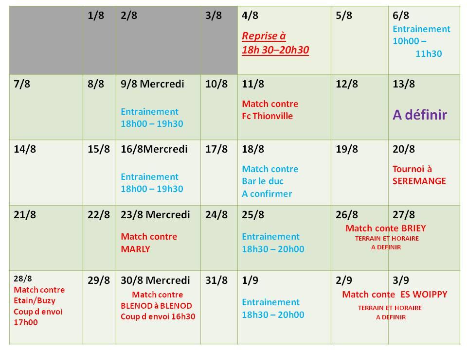 programme Aout 2017