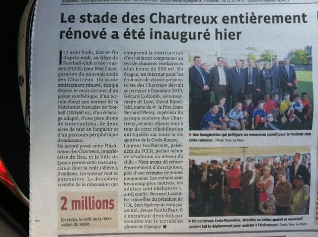 Article sur l'inauguration du stade des chartreux - le progres