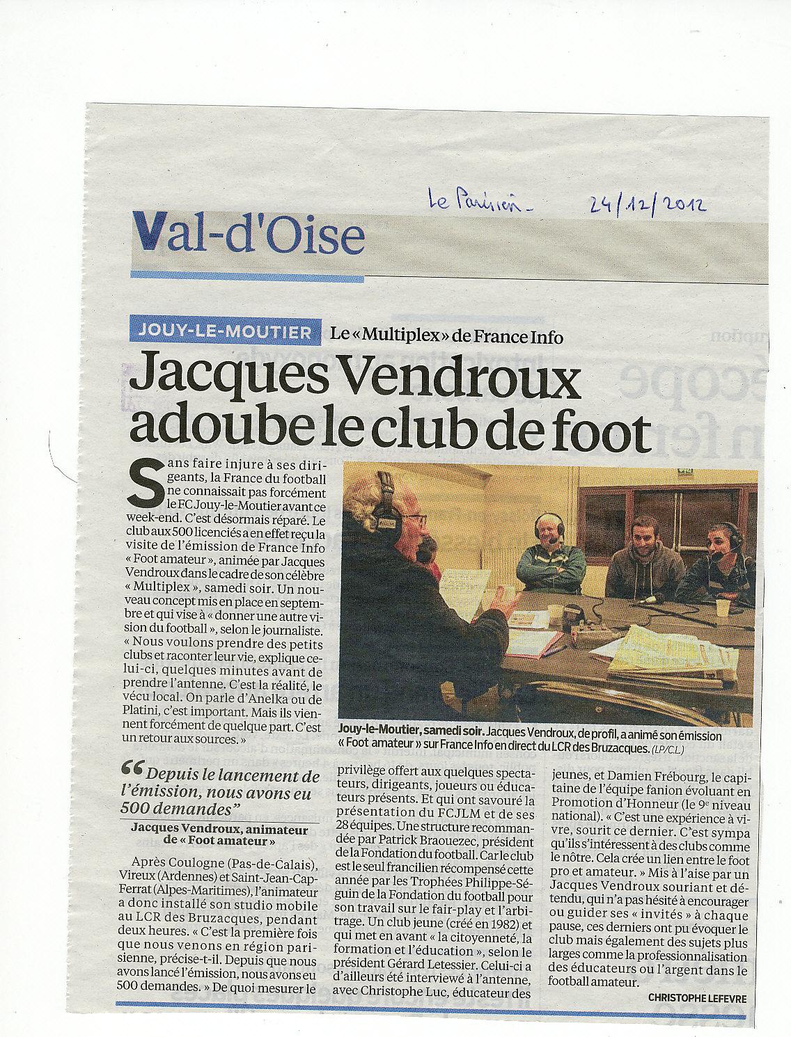 Article du Parisien du 24/12/2012
