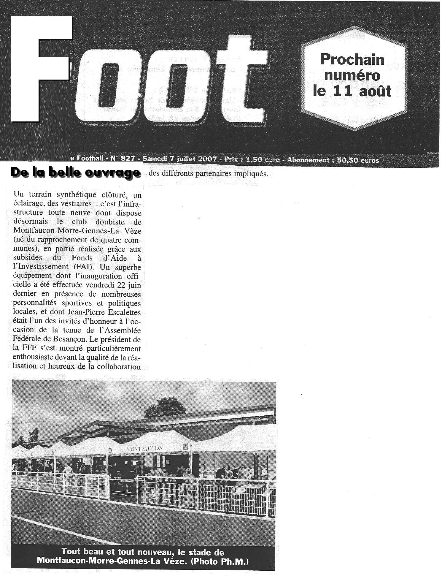 07/07/2007 - De la belle ouvrage - FOOT FFF - Stade de Gennes