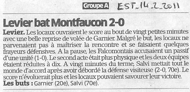 LEVIER bat MONTFAUCON 2-0