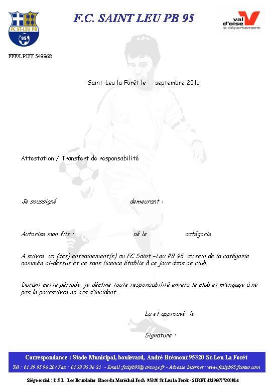 Top Autorisation Parentale - club Football FC SAINT-LEU 95 - Footeo PK95